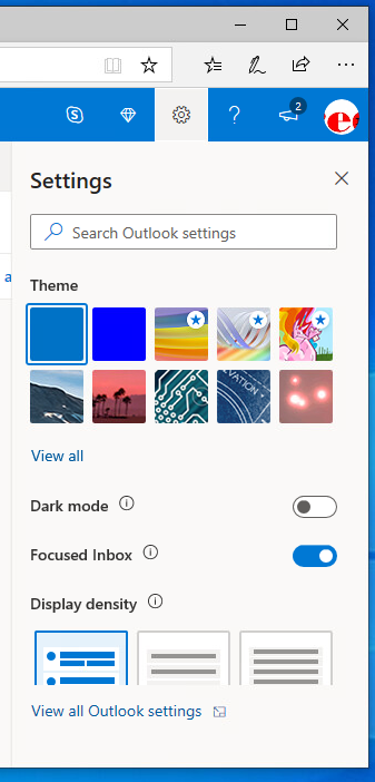 Outlook Live Setting Menu