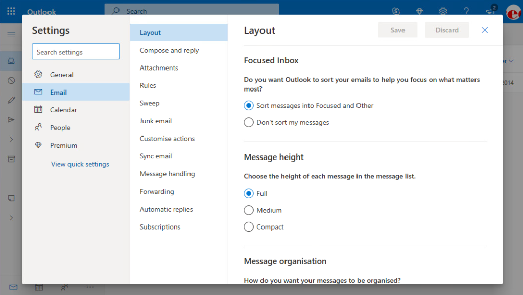 Outlook Live Settings Screen
