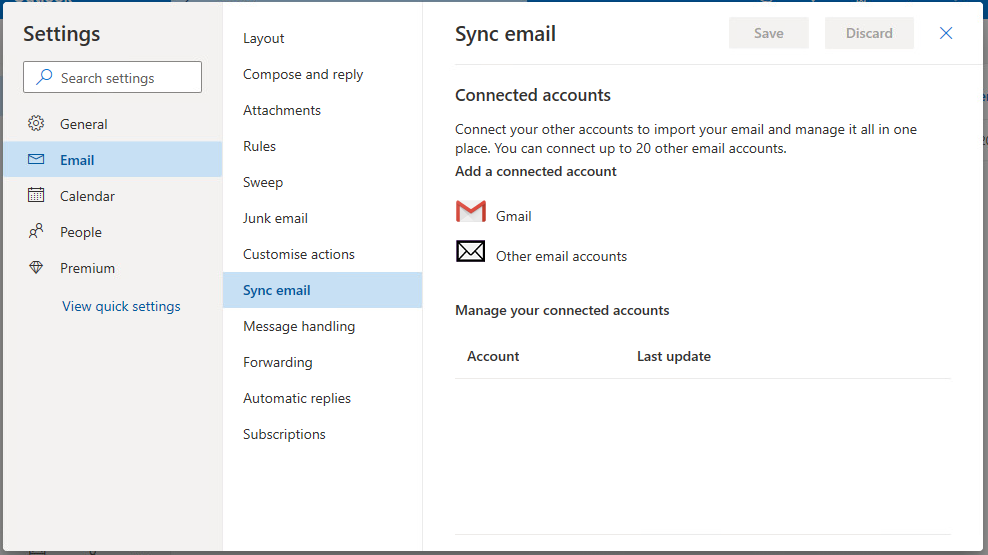 Outlook Live Sync eMail Screen