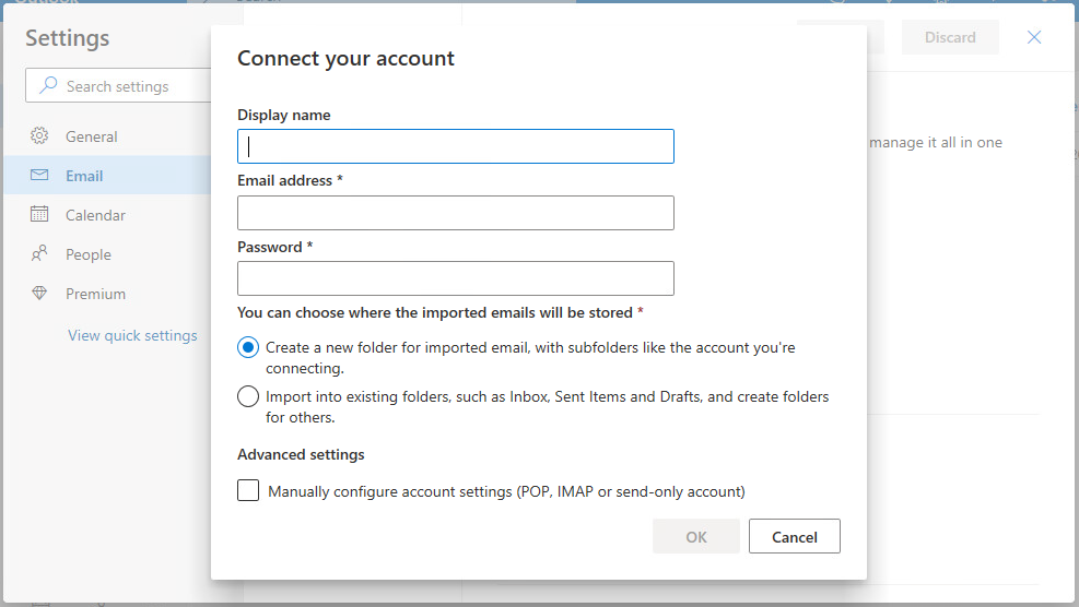 Outlook Live Connect your account Screen