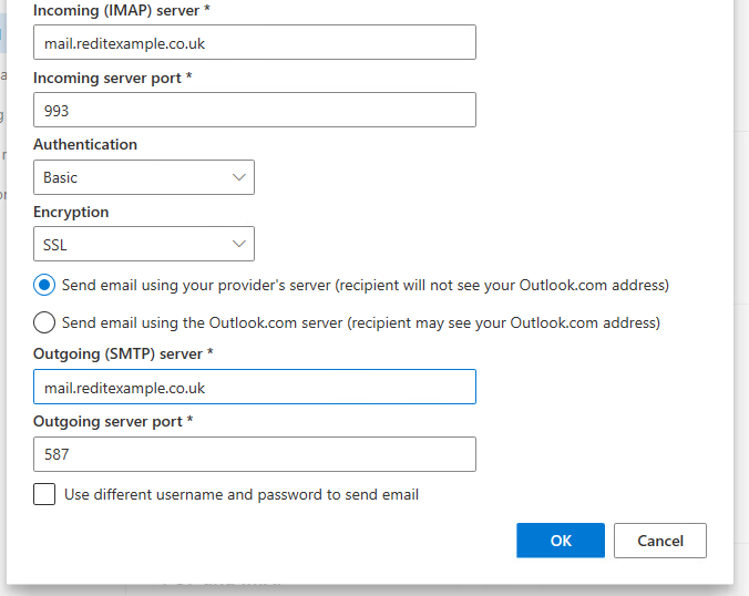 Outlook Live Connect your account Advanced Settings Screen 2 - populated