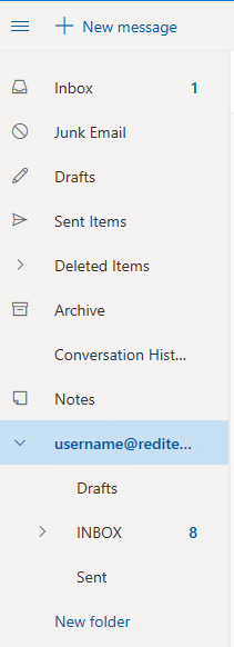 Outlook Live Folders with new account inbox expanded