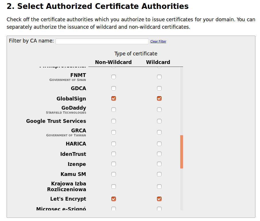 CAA - Select Authorized Certificate Authorities