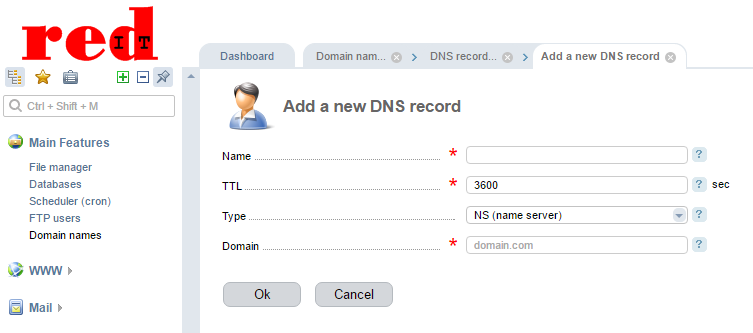 If you do not have an existing SPF record you will need to create one by clicking on the 'Add' Icon which will open the 'Add a new DNS record' screen.