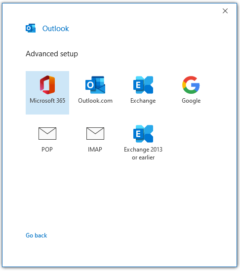 Outlook Wizard step 2
